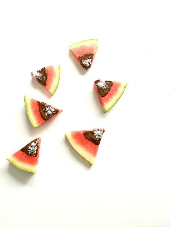 Watermeloen met chocoladedip